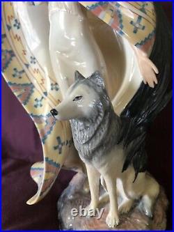 Franklin Mint Jo anne Bird Dreamcatcher Native Girl & Wolf Porcelain Statue