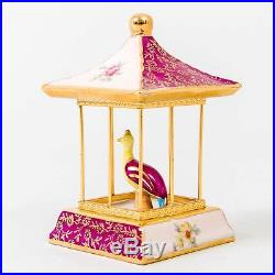 French Limoges Porcelain Statue Bird in Cage Gilded Nightingale Asian Pinks 4.5