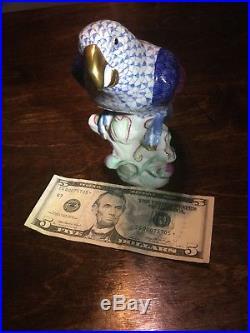 Herend Parrot Bird Figurine Statue Blue Fishnet