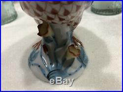 Herend Porcelain Bird Chicken Rooster Hen Fishnet Figure Statue Makers Mark 1932