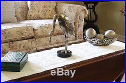 Heron Crane Bird Sculpture Silver Metal Plate Ceramic Statue Figurine Italy