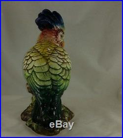 INTRADA Italian Ceramic Tropical Parrot Figurine Statue Handmade in Italy