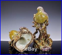 Impressive Large Pair Antique Japanese Kutani Porcelain Statues Okimonos Birds