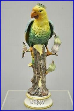 Italian Ceramic Porcelain Yellow Green Blue Parrot Bird Statue Sculpture Figure