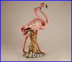 Italian ceramic porcelain animal figurine Flamingo Giovanni Ronzan Lenci 1950s
