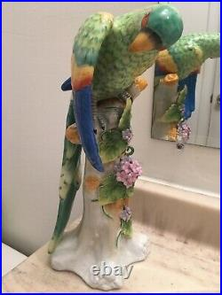Jeanne Reeds RARE Green Parrot Retired Bird Statue Porcelain Figure Italy