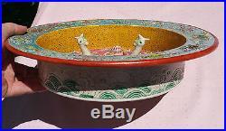 KANGXI antique chinese famille rose bird statue porcelain pottery vtg art bowl