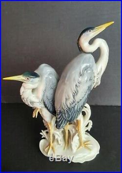 KARL ENS Porcelain Figurine, pair of Herons- German Statue of Two Birds Cranes