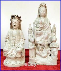 Kuan Yin. 2 Sculptures. Porcelain. Blanc De Chine. China. End XIX Century