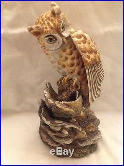 LG VTG Boehm porcelain OWL Bird Statue Figure Dbl Signed Ltd Edition 11 Chipped