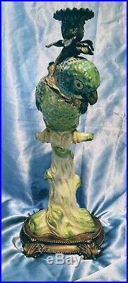 Large Exotic Castilian Bronze Green Parrot Bird Porcelain Candle Holder Statue