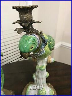 Large Exotic Castilian Bronze Green Parrot Bird Porcelain Candle Statue Set of 2