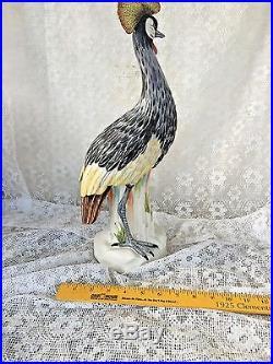 Large Hoope Bird Mottahedeh Porcelain Crested Crane Egret statue reeds 18'