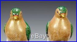 Large Pair Of Antique Japanese Kutani Porcelain Bird Statues Okimonos