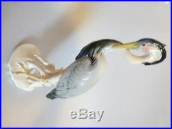 Large Vintage German Karl Ens fine porcelain bird figurine, crane, heron, Ens statu