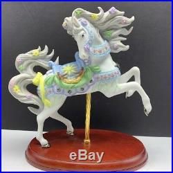 Lenox White stallion horse figurine statue carousel porcelain bird nest violet