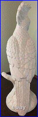 Life-Size Italy White Cockatoo Porcelain Parrot Bird Statue Figure Vintage 20