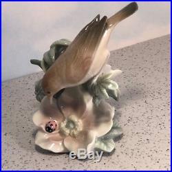 Lladro Figurine Vintage Porcelain Statue 1227 Lady Bug Bird Nightingale Ladybug