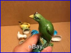 Lot of 7 Chinese Antique Mixed Porcelain Roosters Ducks & Bird Figurines