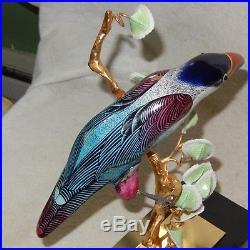 MANGANI Oggetti Italian Porcelain Exotic Sculpture Bird Gilt Feet 11 Statue