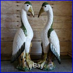 MCM Italian Pottery Bird Statue Set Mid-Century Modern Nautical Beach Home Decor