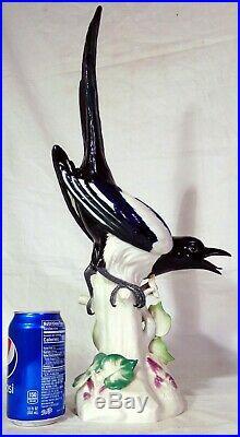 MEISSEN Large Antique German Porcelain Black Bird Figurine Magpie 21 Kaendler
