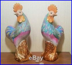 MIRROR IM vtg chinese porcelain bird statue rooster fu dog famille rose pottery