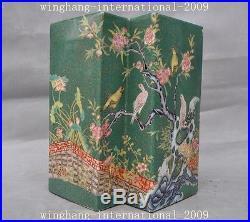 Mark China Wu cai porcelain Feng shui flower bird Bottle Pot Vase Jar Statue