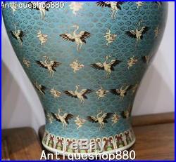 Marked China Enamel Porcelain Crane Bird Vase Pitcher Bottle Kettle Statue Pair