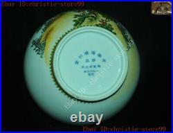 Marked China Pastel porcelain Peach flower bird Cup Bottle Pot Vase Jar Statue
