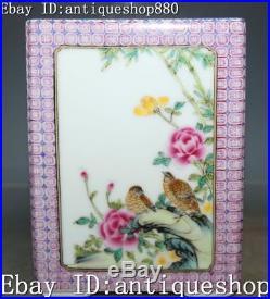 Marked Enamel Porcelain Plum Lotus Bamboo Magpie Bird Pen Holder Brush Pot Jug