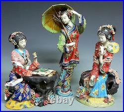 Master ChinaCeramic Wucai Porcelain Classical beauty Belle Ladies 3 Sisters Set