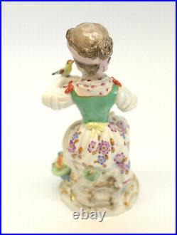 Meissen Porcelain Germany Miniature Figurine, Girl With Birds & Apples #30
