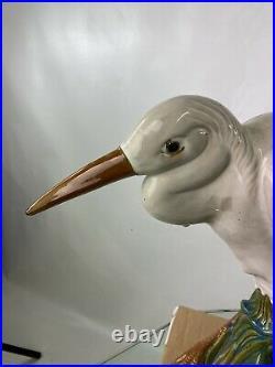 Mid Century Pair Of Large Heron Crane Art Pottery Glazed Statues UNIQUE 21