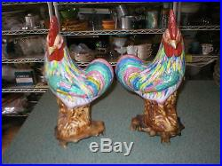 Mirror Pair Vtg Chinese FAMILLE Rose Porcelain Rooster Chicken Figurines Bases