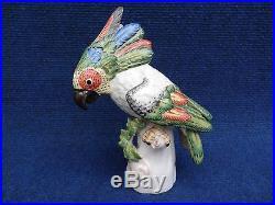 Nymphenburg Cockatoo statue Josef Wackerle Colorfull Porcelain bird statue