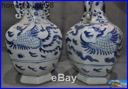 Old China Blue&White porcelain Phoenix bird statue Zun Bottle Pot Vase Jar pair