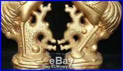 Old China Color Porcelain Gold Gilt Cranes Bird Longlife Animal Statue Pair