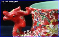 Old China Color Porcelain Phoenix Bird Zun Cup Pot Kettle Flask Goblet Statue