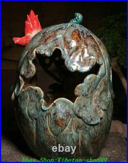 Old China Dynasty Shiwan Color Porcelain Lotus Bird Hollow out Statue