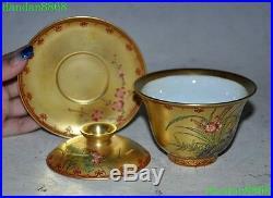 Old China Palace porcelain glaze Enamel Flower bird statue Wineglass Tea set cup