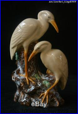 Old China Porcelain Hand-Carved Double Bird Red-crowned crane Vase Wealth Statue