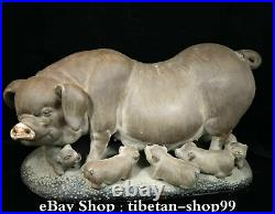 Old China Shiwan Porcelain Animal Big Pig Swine five only Small pig Son Family