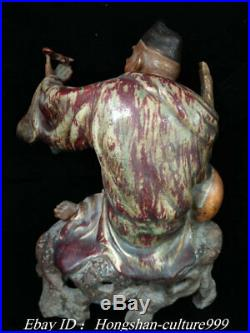 Old China Shiwan Porcelain Carving Ji Gong Monk Arhat Hold Fan Bat Statue