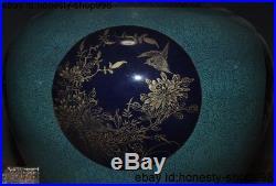 Old China dynasty Ru kiln porcelain flower bird statue Bottle Pot Vase Jar pair