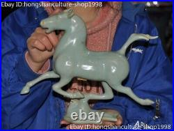 Old Chinese Ancient Ru kiln Old porcelain carved horse Steed bird statue