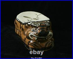 Old Chinese Antique Ci Zhou Kiln Porcelain Bird Tiger Pillow Statue Sculpture