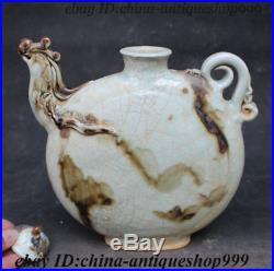 Old Chinese Crackle Glaze Porcelain Bird Phoenix Head Wine Tea Pot Flagon Statue