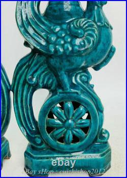 Old Chinese Green Glaze Porcelain Bird Phoenix Statue Incense Burner Censer Pair