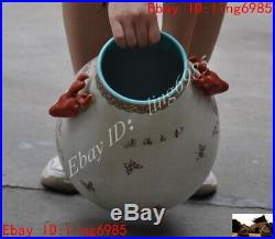 Old Chinese Wucai porcelain Flower Bird Lucky Zun Cup Bottle Pot Vase Jar Statue